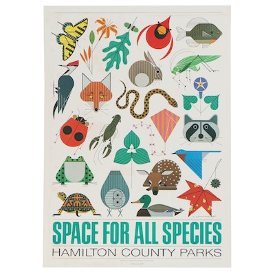 "Charley Harper Offset Lithograph Poster ""Space for All Species,"" 1980"