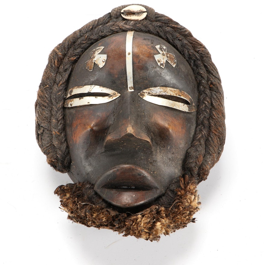 Dan Style Wood Mask with Metal Embellishments, West Africa