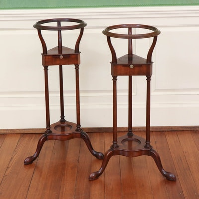 Pair of Baker Furniture George III Style Mahogany Bowl Stands, 1940s
