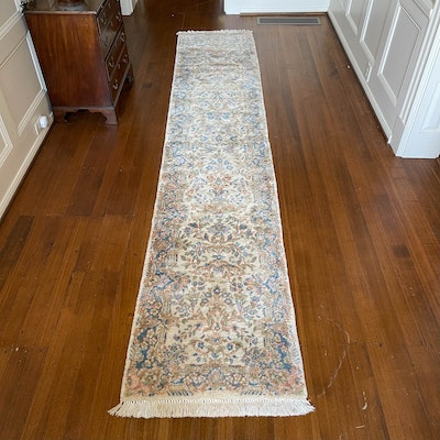 2'5 x 6'2 Hand-Knotted Persian Kerman Wool Carpet Runner