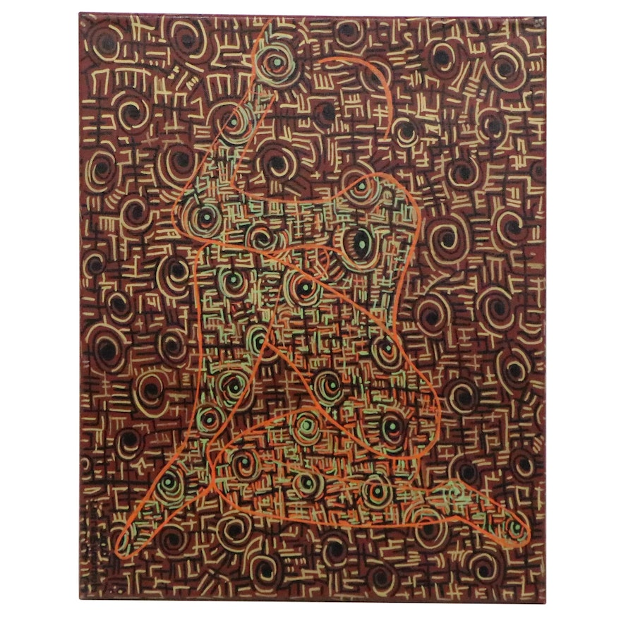 """Lanre Buraimoh Acrylic Painting """"Feeling Overwhelmed with Love I,"""" 2000"""