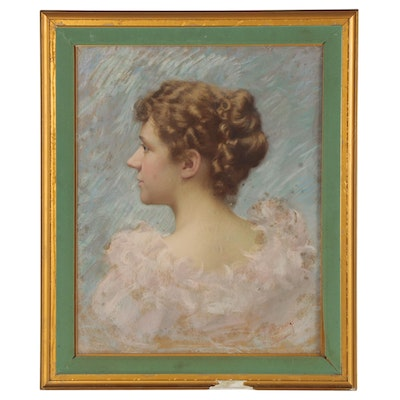 Joseph Henry Sharp Pastel Drawing of an Elegant Woman, Late 19th Century