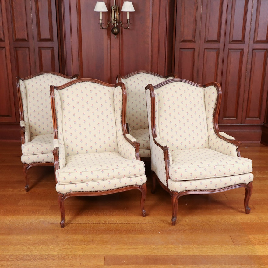 Four Baker Wingback Armchairs with Nail Head Trim, Late 20th Century