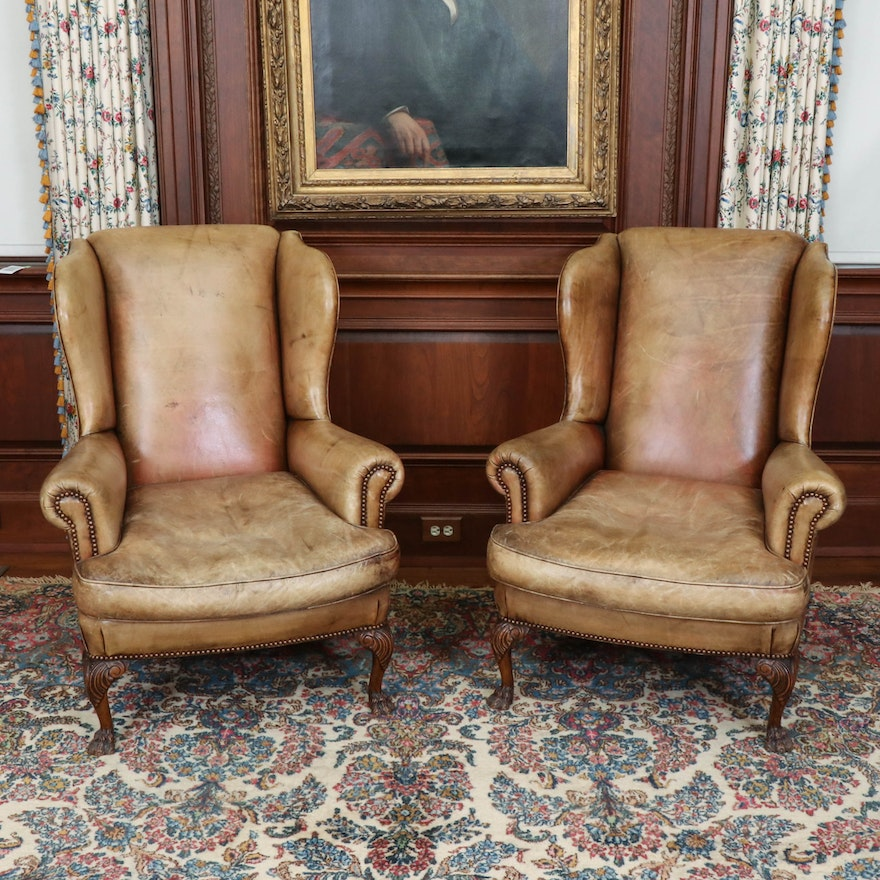 Pair of George III Style Leather-Upholstered and Brass-Tacked Wingback Chairs