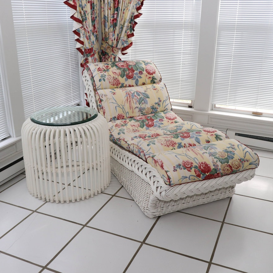 Ficks Reed Wicker Chaise with White Rattan and Glass Side Table
