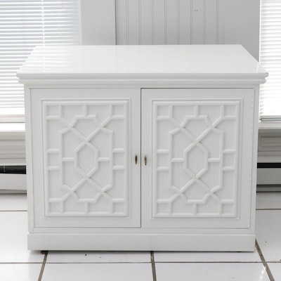 White Painted Side Cabinet with Applied Lattice Doors