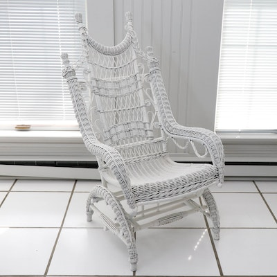 White Wicker Rocker, Late 19th Century