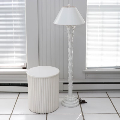 Chapman Modernist Painted Composite Palm Tree Floor Lamp with White Side Table