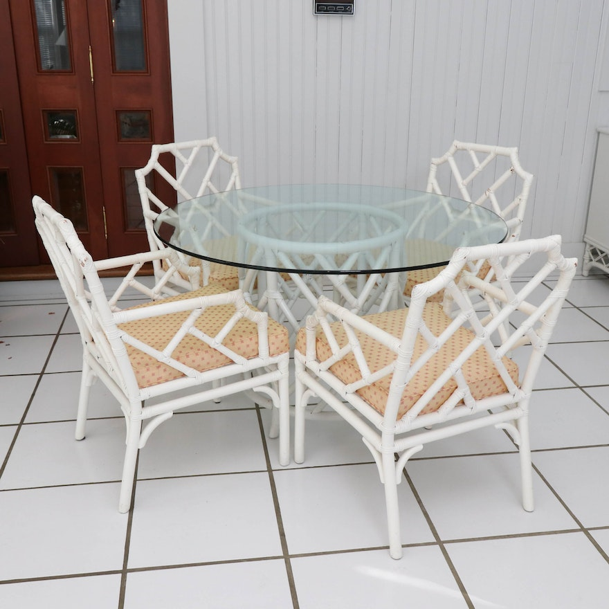 Willow & Reed Painted Dining Table and Chairs, Late 20th Century