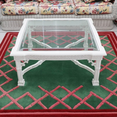 Glass and Carved Wood Coffee Table