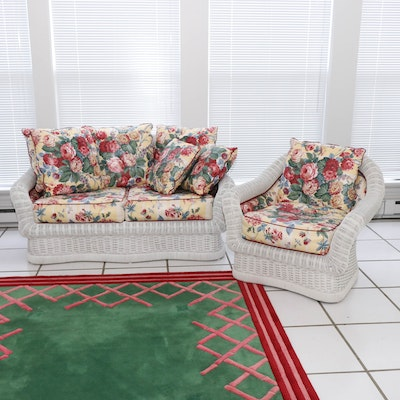 Ficks Reed White Wicker Loveseat and Armchair with Button-Tufted Floral Cushions
