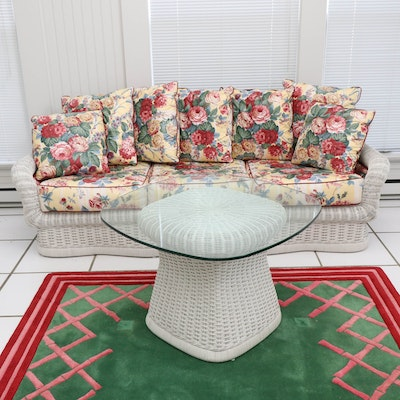 Ficks Reed Wicker Sofa and Coffee Table with Floral Upholstered Cushions