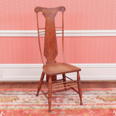 Victorian Carved Oak Fiddle-Back Hall Chair, 19th Century