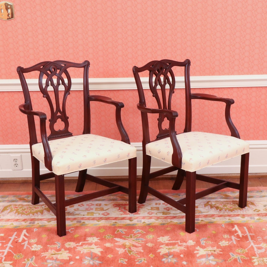 Pair of Chippendale Style Mahogany Armchairs, 20th Century