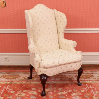 Hickory Chair Co. Upholstered Wingback Chair with Down Seats, Late 20th Century