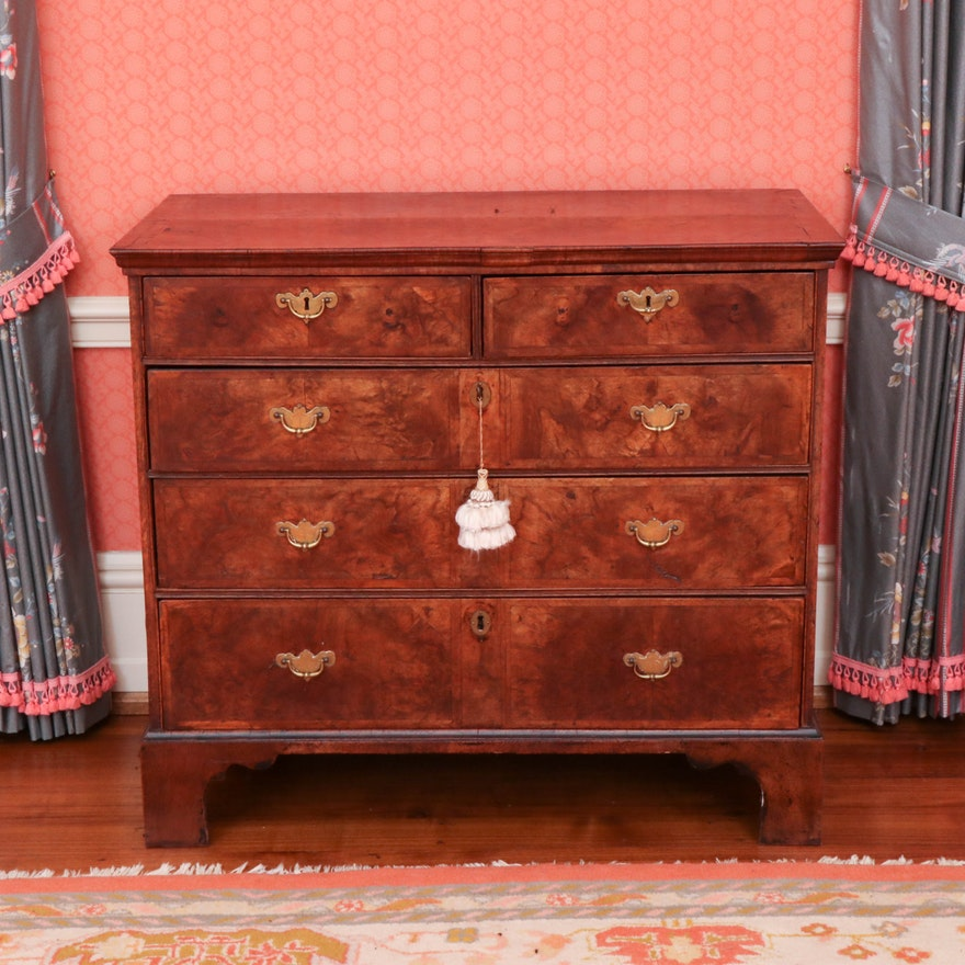 George II Burr Walnut and Featherbanded Chest of Drawers