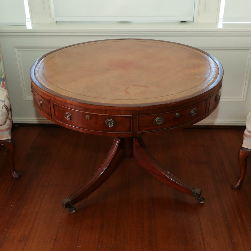 Regency Mahogany & Leather Library Table on Turned Pedestal, Early 19th Century