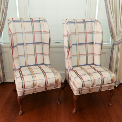 Queen Anne Style Exceptionally High Wingback Chairs, 19th Century