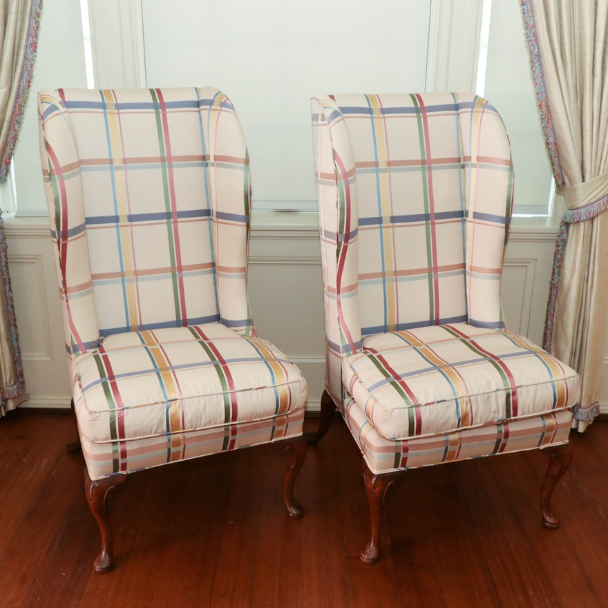 Queen Anne Style Exceptionally High Wingback Chairs