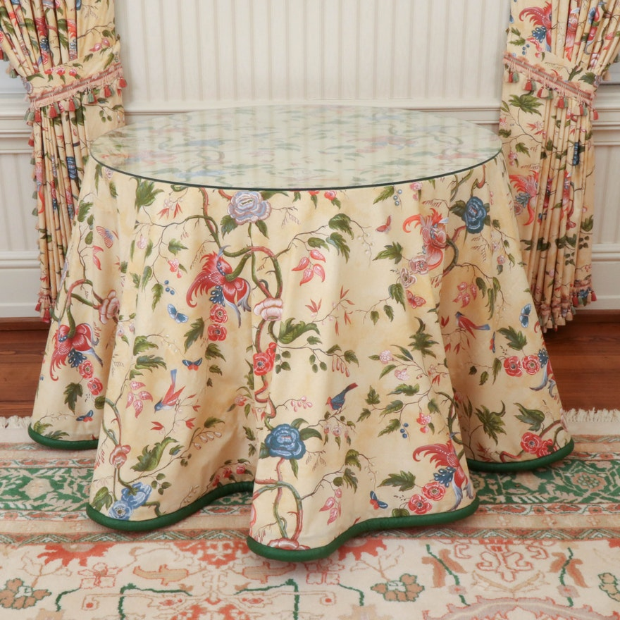 Bespoke Drapery Table with Glass Top