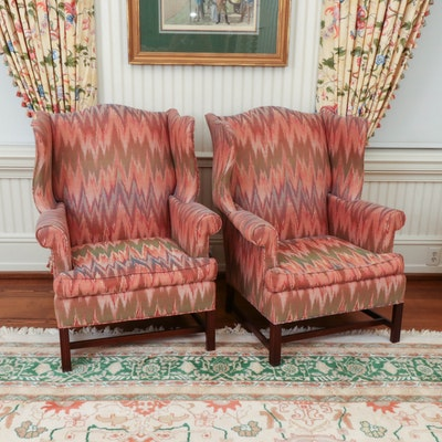 Hickory Chair Upholstered Wingback Chairs, Late 20th Century
