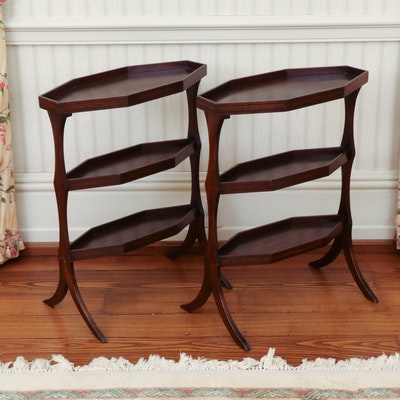 Pair of Regency Mahogany Navette-Shaped Tables