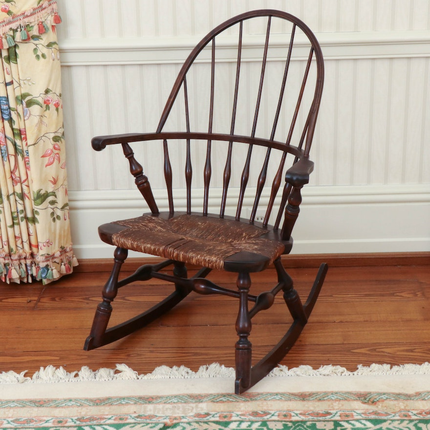 Rocking Chair with Rush Seat, Late 19th to Early 20th Century