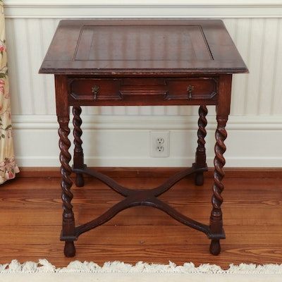 William and Mary Style Oak Side Table, Early 20th Century
