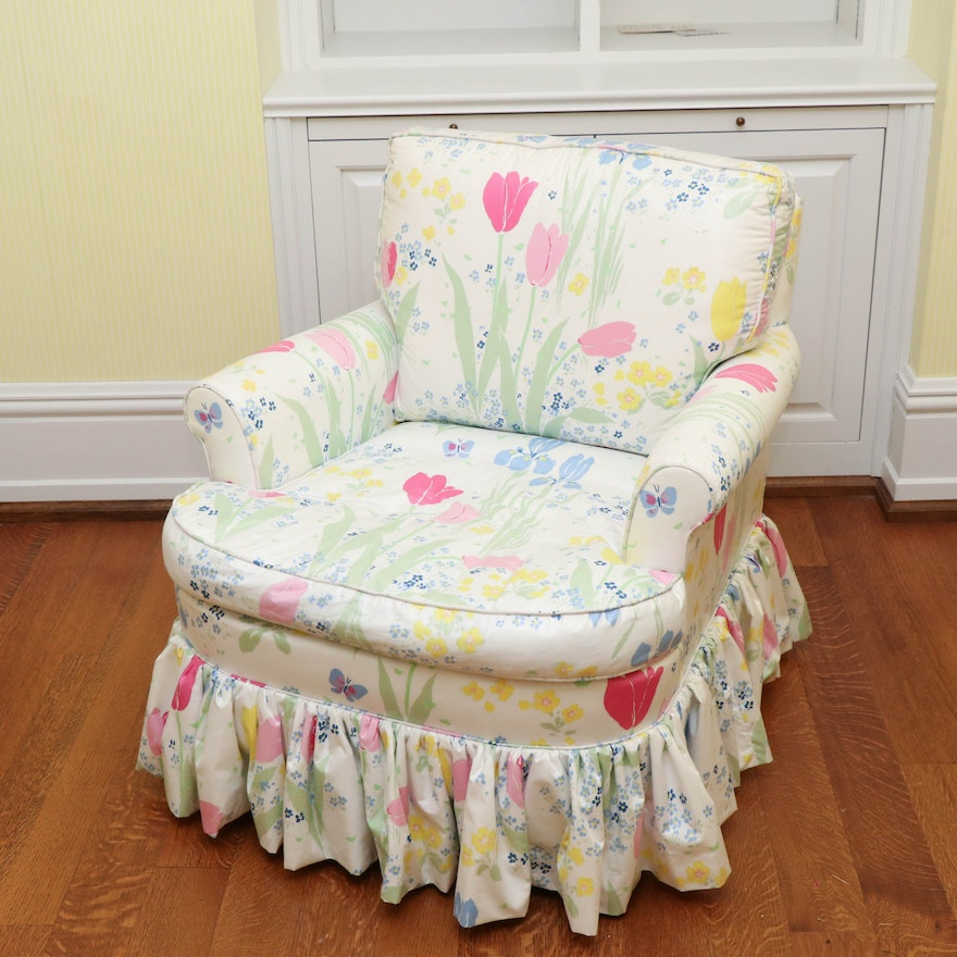 Designer Upholstery by Heirloom Floral Upholstered Armchair with Ruffled Skirt