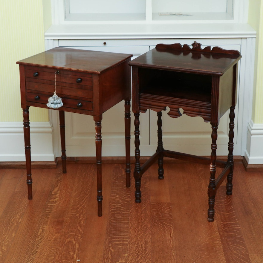 Federal Style Wood End Tables, Early to Mid 20th Century