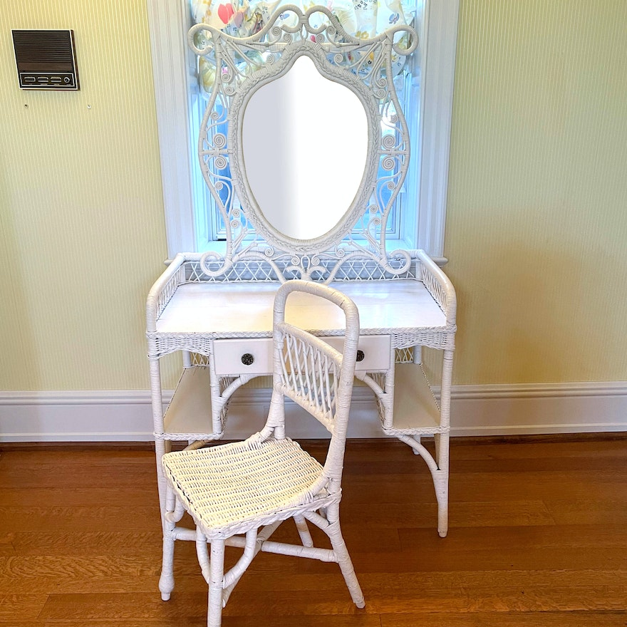 White Wicker Desk, Chair and Wall Mirror, 20th Century