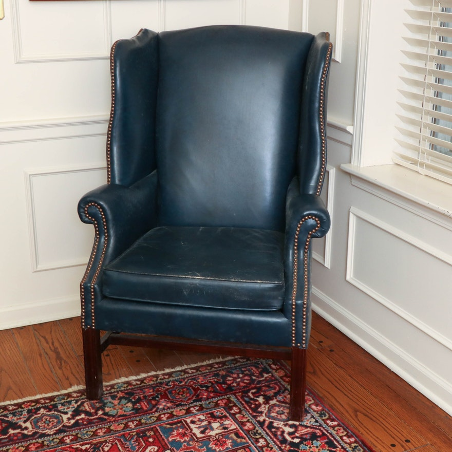 Navy Leather Wingback Chairs with Nailhead Trim