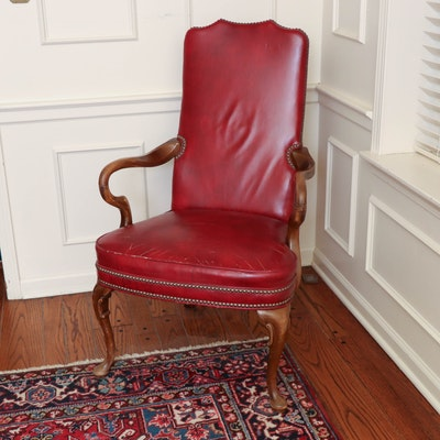 Distressed Scarlet Leather Armchair with Nailhead Trim, Late 20th Century