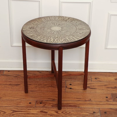 Mid Century Modern Carved Metal Table with Figures