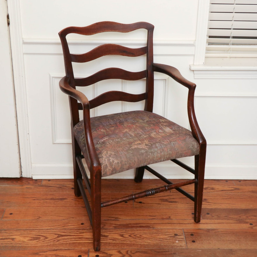 Mahogany Tapestry Upholstered Armchair, Early 20th Century
