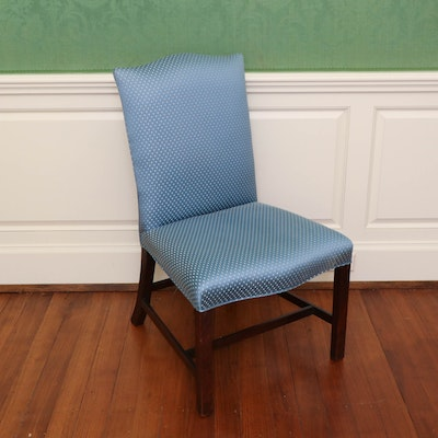 Chippendale Style Upholstered Hall Chair in Mahogany Frame, 18th Century