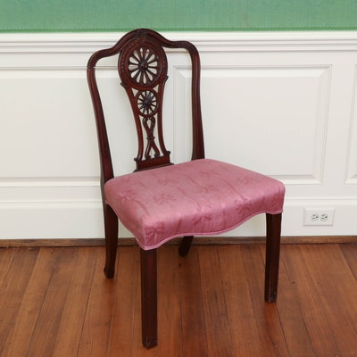 Classical Style Carved Mahogany Side Chair, Mid-19th Century