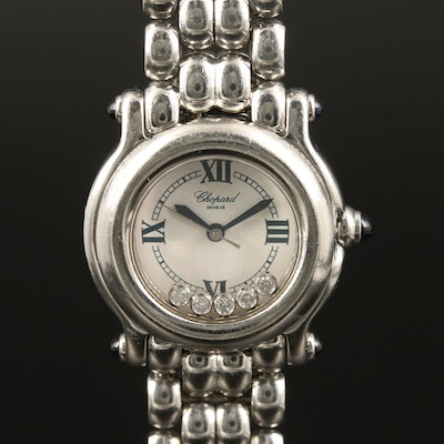 Chopard Happy Sport Diamond and Stainless Steel Quartz Wristwatch