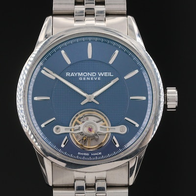 Raymond Weil Blue Dial Balance Wheel Freelancer Stainless Steel Wristwatch