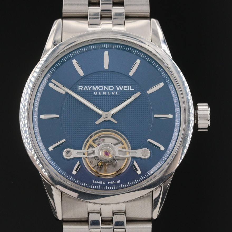 Raymond Weil Blue Dial Balance Wheel Freelancer Stainless Steel Wristwatch
