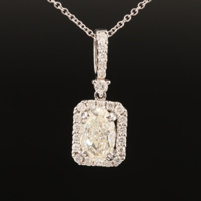 18K 1.83 CTW Diamond Halo Pendant on 14K Necklace