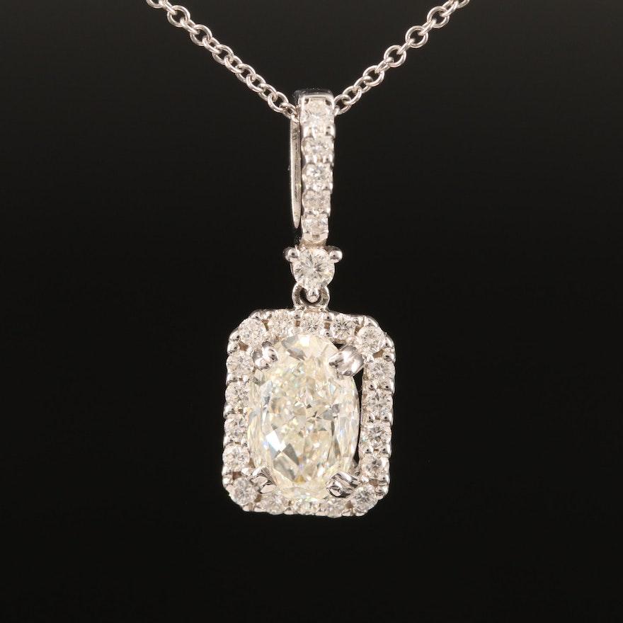 18K 1.83 CTW Diamond Halo Pendant on 14K Necklace