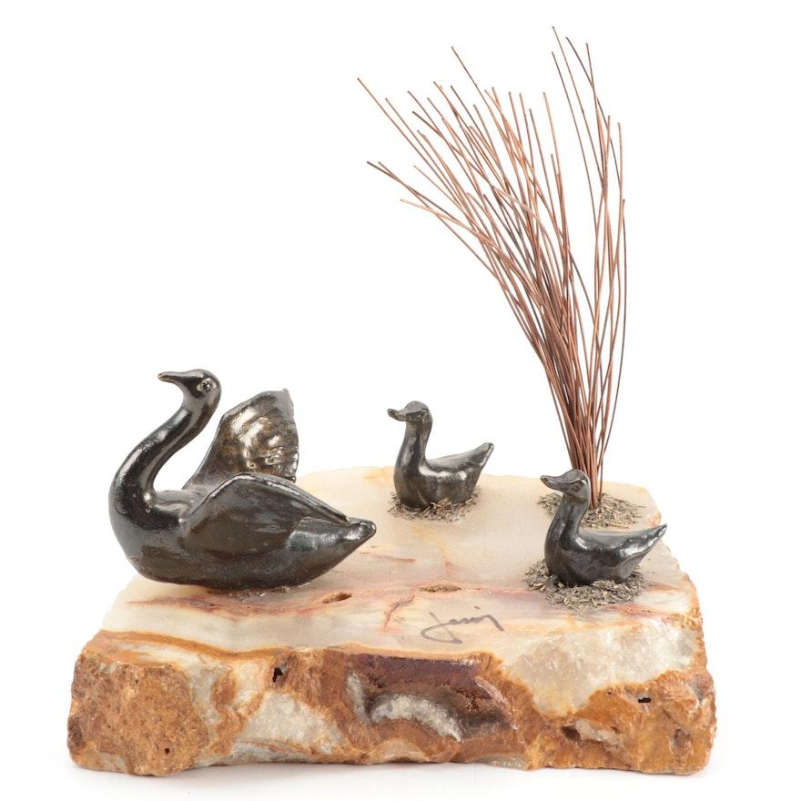Mario Jason Bronze and Quartz Sculpture