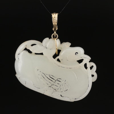 Chinese 14K Carved Serpentine Duck Enhancer Pendant
