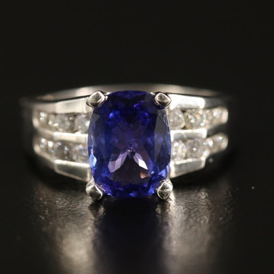 14K Tanzanite Ring with Diamond Channel Shoulders