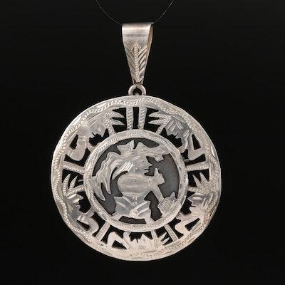 Guatemalan Mayan Themed 900 Silver Converter Brooch