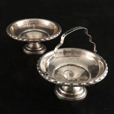 La Pierre Sterling Silver Repoussé Compote and Handled Basket, Early 20th C.