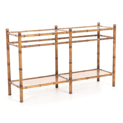 Bamboo-Turned Wood and Glass Tiered Sofa Table, Mid-20th Century