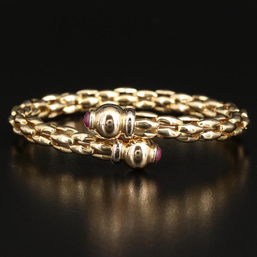 18K Ruby Cabochon Bypass Bracelet