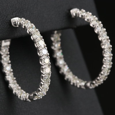 14K 4.40 CTW Diamond Inside-Out Hoop Earrings